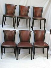 Antique Set of 6 Dining Room Chairs With Original Leather Backs and Seats