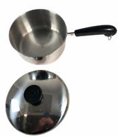 Revere Ware 1801 Stainless Steel Sauce Pan 1 1/2 quart Copper Bottom w Lid