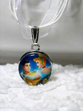 New Disney Cinderella Snap Charm On Whte Ribbon Cord Necklace N 525