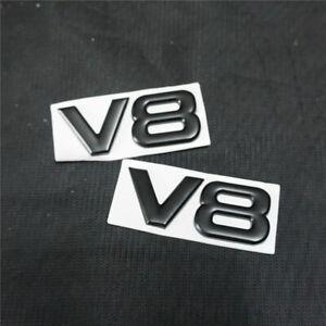 2PCS Black V8 Small Metal Badge Sticker Emblem Limited Decal Sports Motor v6 sep