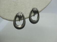 """Vintage Stud & Dangle Clip Earrings, Southwestern Style, 1-3/8"""", Silver Tone"""