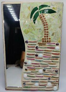 "Handmade Beach Themed Mosaic Mirror 10"" x 15"" - Shell and Glass Tiles"