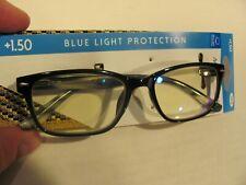 NEW-M+ Readers Q2 +1.50 Reading Glasses w/Case Tortoise Brown - Blue Light Block