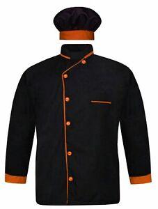VELES Men's Black Chef Coat Orange Piping Chef Coat with Chef Cap (All Size)