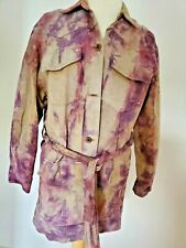 leather safari jacket beige suede dyed tan cowgirl western equestrian coat Med L