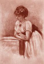"Touching 1800s George Dunlop Leslie Antique Print ""Sweet Collenette"" Framed COA"