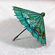 "Vintage Japanese Bamboo & Rice Paper Folding Umbrella, Parasol, Green16"" D Birds"