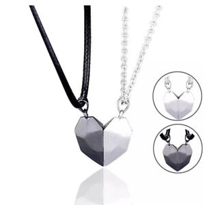 Magnetic Couple Necklace Lovers Heart Pendant Distance Faceted Charm Necklace