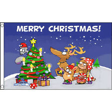 Christmas Scene Flag 5Ft X 3Ft Festive Xmas Santa Rudolf Banner New