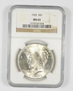 MS65 1922 Peace Silver Dollar - Graded NGC *901