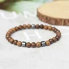 Women Men's 4mm Black Hematite Round Beads Wood Stretch Charm Bracelets Jewelry