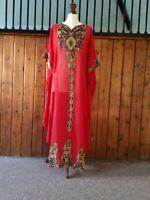 Moroccan Dubai abaya kaftan caftan red chilli gold lace maxi dress plus size Eid