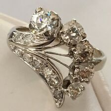 VINTAGE 14K WHITE GOLD  MINE CUT DIAMOND  COCKTAIL FAN RING 1.50 CTW SIZE 6.25
