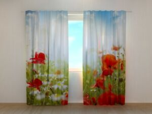 3D Curtain Printed with Red Poppies and Blue Sky image Wellmira Made to Measure