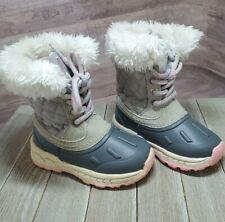 Carters Baby Toddler sz 6C Quilted Vermont Boots Gray Pink Insulated Snow Winter