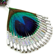 Hand Beaded Peacock Feather Pendant Beads Necklace Handmade Women Jewelry DA251