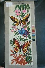 vintage royal paris needlepoint tapestry canvas kit - butterflies flowers 19x7