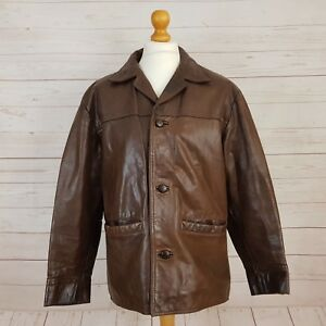 Exclusive Leather By L.L.Direct LLD Mens Brown Vintage Leather Coat Jacket UK M