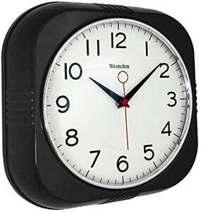 "Westclox Retro 9.5"" Silent Sweep Easy to Read Wall Clock (Black) 32948BK"