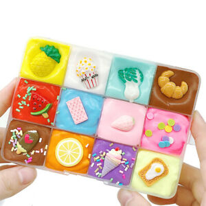 DIY Fluffy Slime Fruit Dish Slime Mud Nontoxic  Gift Kids Stress Reliever Toy
