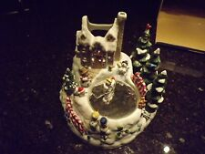 Partylite Snowbell Snowman Ice Skating on Pond Music Box Candle Holder P7651