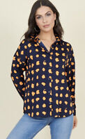 Influence Shirt Top Navy Orange Smudged Spot Print Oversized Size 8,12 EL73 New