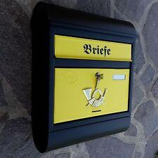 XXL Briefkasten Modern Postkasten Schwarz Matt / Gelb +Zeitungsrolle Wandmontage