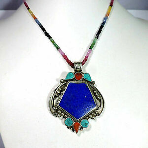 Natural Ruby,Emerald,Sapphire With Turquoise And Coral Pendant Jewellery A38-26