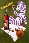 Picnic Zebra Drinking Cinzano Italy Italian Drink Vintage Poster Repro FREE S/H