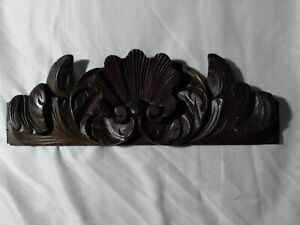 "Decorative Scroll Shell Carving, Mahogany Pediment Antique French, Salvage, 13""L"