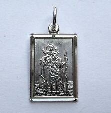 Sterling silver Diamond cut Rectangular St Christopher Pendant 1.35g