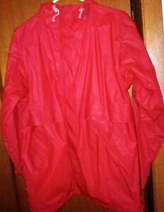 New Lands End Direct Merchants Red Rain Jacket Unisex Size Medium 10/12 Regular