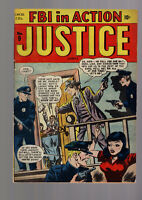JUSTICE COMICS #9 (#3) MARVEL/ATLAS GOLDEN AGE PRECODE CRIME 1948 STUNNING COPY!
