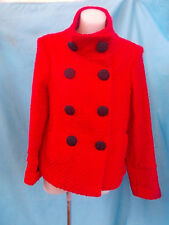 EMERGE BRIGHT RED WOOL MIX WOVEN FULLY LINED SHORT DOUBLE BUTTON COAT-SZ 10 VGC