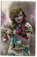 art deco flapper girl with flowers tinted  photo postcard
