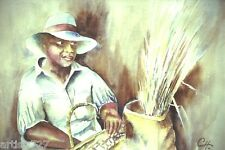 """Basket Weaver"" Original Water Color Painting, Signed, Charleston Black Women"