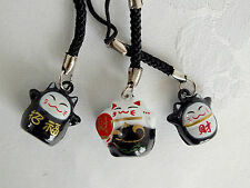3 Negro Blanco Chino Suerte Fortuna Gato Teléfono Bolso Encanto Llavero Japonés