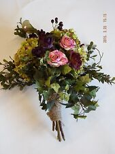 Cascade eggplant dried silk rose Bridal Bouquet berries hydrangea pink burgundy