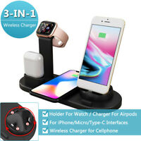 3in1 Qi Wireless Fast Charging Dock Station For Apple Watch Air pod Cell Phone