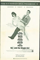 Sex and the Single Girl (1964) Lauren Bacall Tony Curtis Natalie Wood  pressbook