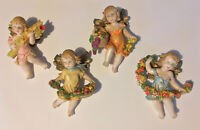 Angel Cherub Ornaments Lot Of 4 Hard Plastic Fruits Flowers Made In Italy