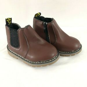 Toddler Boys Chelsea Boots Zipper Faux Leather Brown Size 22 US 6