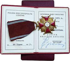 Cross of  Merit 1 class (Gold) Poland + box + document, 100% original 1971