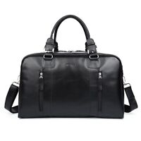 Black Large Soft Leather Men's Travel Luggage Bag Camp Handbag Overnight Tote