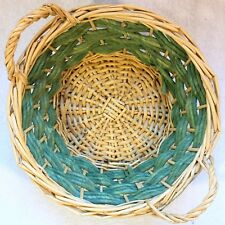 "Green/Natural 11"" ROUND WICKER Rattan Cane Rope BASKET Side Handle Holiday Gift"