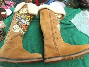 ladies size39/8 brown suede leather ED HARDY flat knee hi boots full zip vgc