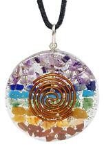 Orgone Chakra Pendant Reiki Charged Healing Round Necklace  (v3)