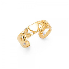 14K Solid Yellow Gold Heart Toe Ring Adjustable - Love Polished Foot Band Women