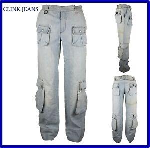 jeans pantaloni da donna a zampa vita bassa cargo con tasconi laterali chiari 44