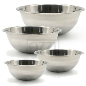 4pc Stainless Steel DEEP MIXING BOWL SET Cooking Salad Serving Flat Base Metal